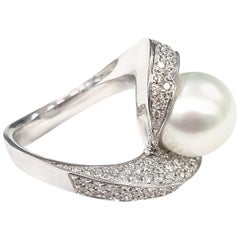 Spiral 10 Carat Pearl and Diamond Cocktail Ring
