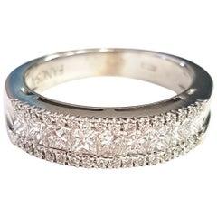 Triple Row Diamond 18 Karat White Gold Ring