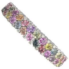 29.93 Carat Natural Color Sapphire and Diamond Tennis Bracelet