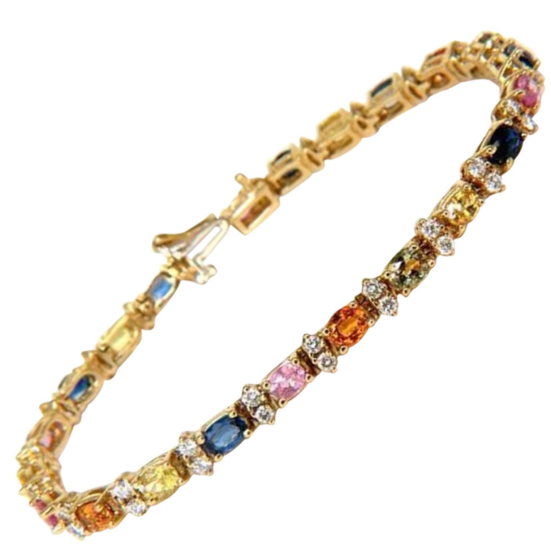 7.80 Carat Natural Sapphire Diamonds Bracelet Multi-Color 14 Karat