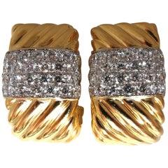 4.2Ct Natural Diamonds Candy Cane Twist Clip Earrings Three Dimensional 18 Karat
