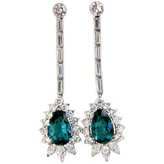 GIA Certified 12.53 Carat Natural Tourmaline Diamonds Dangle Earrings 18 Karat
