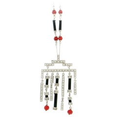 Coral 18 Karat White Gold, Onyx Diamonds Pendant Necklace