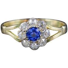 Antique Victorian Sapphire Diamond Ring 18 Carat Gold, circa 1900