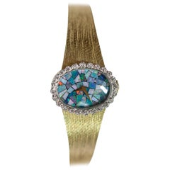 Omega Ladies 14 Karat Yellow Gold Watch with Diamonds