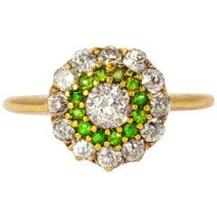 Diamond and Demantoid Garnet Cluster Ring
