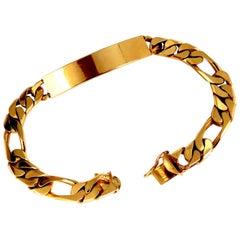 14 Karat Classic ID Tag Bracelet Curb Link Chain
