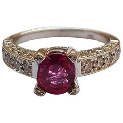 1.40 Carat Natural 'No Heat' Ruby 'Burma' Diamond White Gold Ring