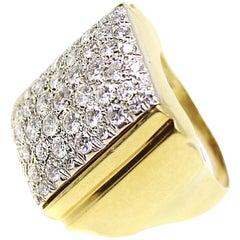 1970s Pave Diamond 18 Karat Gold Ring