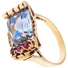 Retro Aquamarine Ruby Rose Gold Ring