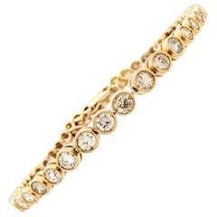 14 Karat Yellow Gold 3.44 Carat Bezel Set Diamond Tennis Bracelet