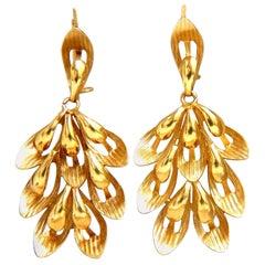 Handmade Bohemian Prime Open Deco 3D Dangle Earrings 18 Karat