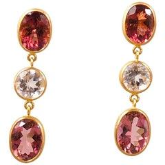 Scrives Morganite Purple Tourmaline 22 karat Gold Earrings