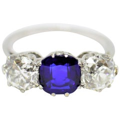Antique Natural Sapphire and Diamond Three-Stone Ring, circa 1910