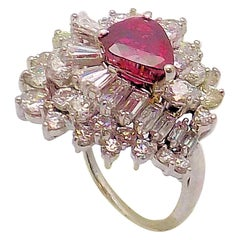 Platinum Ruby and Diamond Dinner Ring