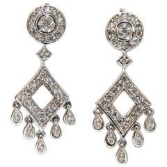.50 Carat Diamonds Petite Chandelier Dangle Earrings 14 Karat