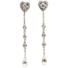 2.40 Carat Natural Briolette Diamonds Dangle Earrings 14 Karat