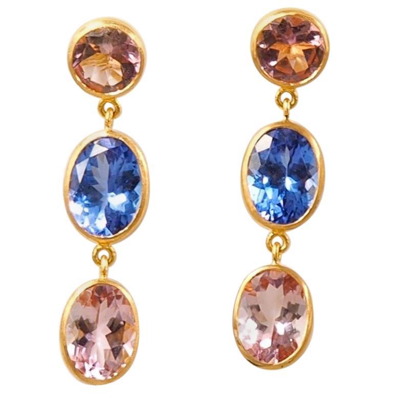 Scrives Tanzanite Pink Tourmaline 22 Karat Gold Earrings For Sale At