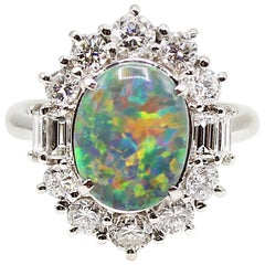 Harlequin Black Opal Diamond Platinum Cocktail Ring