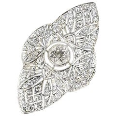 Modern Diamond Filigree Platinum Ring