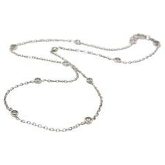 14 Karat White Gold Diamonds By-The-Yard Necklace