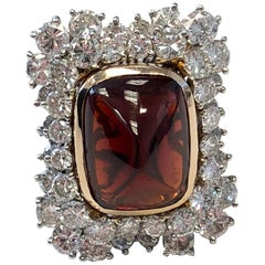 Sugarloaf Garnet and White Diamond Cocktail Ring in 2-Tone 18 Karat Gold