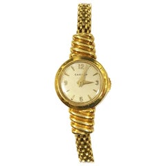 Cartier Yellow Gold EWC Ladies Mechanical Back Wind Bracelet Watch