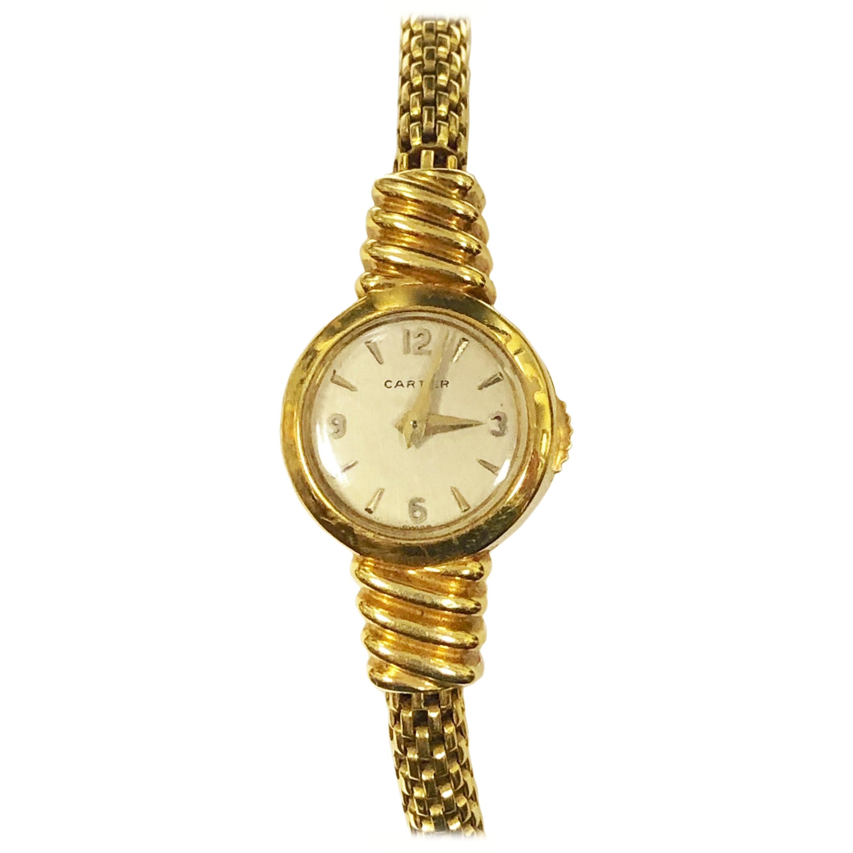 Cartier Yellow Gold EWC Ladies Mechanical Back Wind Bracelet Watch
