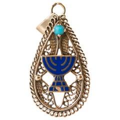 1940s Menorah Enamel and Turquoise Pendant in 14 Karat Yellow Gold