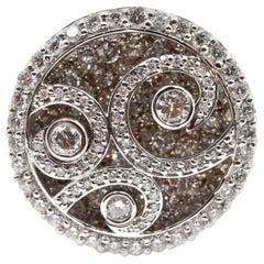 14 Karat White Gold Diamond Swirl Ring