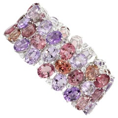 White Gold 125 Carat Amethyst Tourmaline Morganite and White Sapphire Bracelet