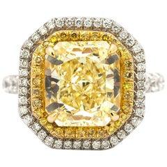 GIA Certified 5.26 Carat Fancy Yellow Diamond Ring