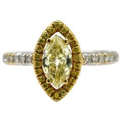 18 Karat GIA Certified Yellow Diamond Ring