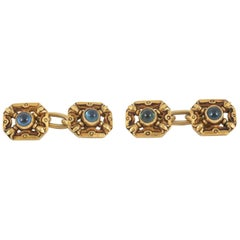 Cufflinks Pair of Antique 18 Karat Gold and Sapphire, French, circa 1900