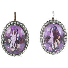 Earrings Amethyst and Diamond Cluster Russian, circa 1890