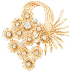 Brooch 18 Karat Gold and Diamond Cascade of Fireworks Design French, circa 1950