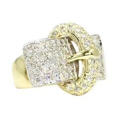 Estate Pavé Diamond Two-Tone Gold Buckle Ring