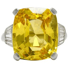 GIA Certified 19.70 Carat Yellow Sapphire Natural No Heat Cocktail Ring
