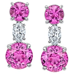 4.68 Carat Pink Round Sapphire and Diamond Earrings