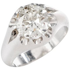 1950s European Diamond Men's Platinum Gypsy Ring