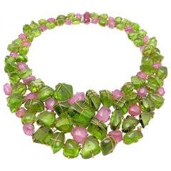 Handmade Collar Style Peridot, Pink Sapphire, Ruby and Diamond Necklace