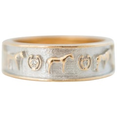 Diamond and 14 Karat Gold Band Lucky Horseshoe and Horse Equestrian Ring