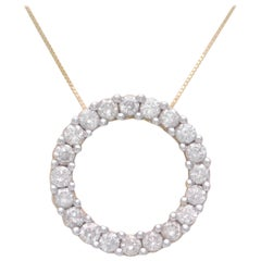 "Vintage 2 Carat Diamond ""Circle of Love"" Pendant Necklace"