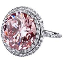 14.00 Carat Fancy Intense Pink Enhanced Round Diamond 'GIA' Set in Platinum Ring