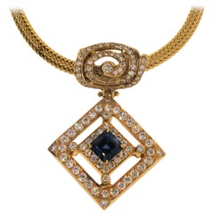 "18 Karat Yellow Gold ""No Heat"" Sapphire '2.25 Carat' and Diamond Pendant"