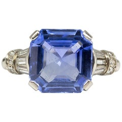 Estate Platinum Sapphire and Diamonds Ring