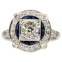 Estate Platinum Old Mine Antique Diamond and Sapphires Ring