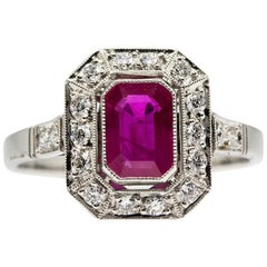 Platinum Handmade Natural Burma Ruby and Antique Diamonds Ring
