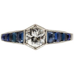 Estate Handmade Platinum Diamond and Sapphire Ring