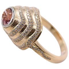 2.15 Carat Tourmaline and 0.85 Carat Diamond Cocktail Ring in 18 Karat Gold